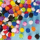Selbstklebende Glitter Pompons zum Verzieren von Grußkarten, Bastelprojekten und Collagen (150 Stück)