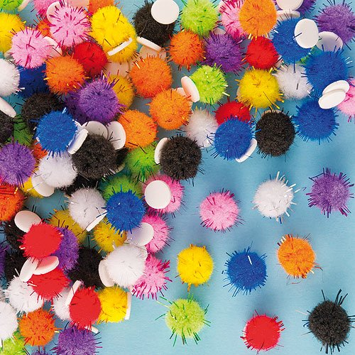 Baker Ross Self-Adhesive Glitter Pom Poms for Children to Decorate Cards EX7922 Pack of 150