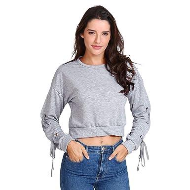 ddbc0a63f24f OSYARD Damen Einfarbiges Sweatshirt Langarm, Frauen LäSsige SchnüRsenkel  Lange ÄRmel Pullover Top Solid Sweatshirt Tops