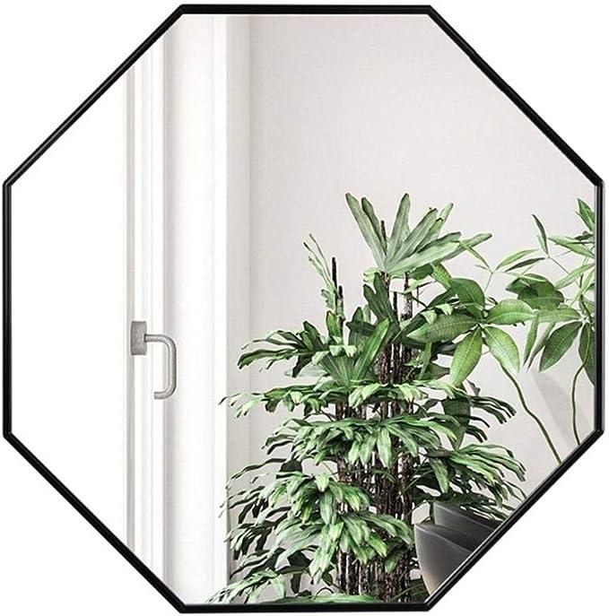 El gran espejo Contemporánea decorativo espejo de la sala / Dormitorio / baño octogonal marco de aluminio Espejo de baño fregadero Porche Espejo Colgante - Black-Φ60cm (23.6