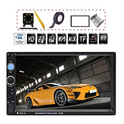 TDYJWELL 7 inch Double Din Touch Screen Car Stereo Upgrade The Latest Version MP5/4/3 Player FM Radio Video Support Backup Rear-View Camera Mirror Link: Car Electronics