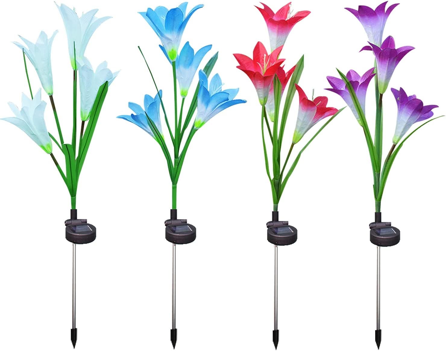Outdoor Solar Garden Stake Lights, Solar Flower Lights with 16 Lily Flowers, New Upgraded Solar Garden Lights,Waterproof, Multi-ColorChanging LED Solar Landscape Lighting for Patio ,Yard Decoration