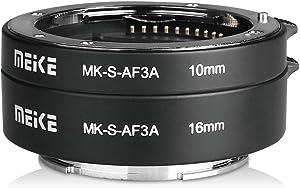 MEIKE MK-S-AF3A Metal Auto Focus Macro Extension Tube Adapter Ring (10mm+16mm) for Sony Mirrorless E-Mount FE-Mount A7 NEX Camera A7 A7M2 NEX3 NEX5 NEX6 NEX7 A5000 A5100 A6000 A6300 A6500 A9 A7III