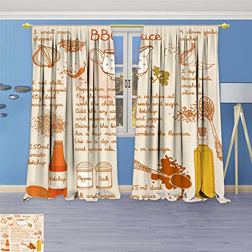 (SOCOMIMI Design Print Grommet top Thermal Insulated Food s Collection Food redients Barbecue Sauce Recipe Linen Room Darkening Curtains 120W x 84L)