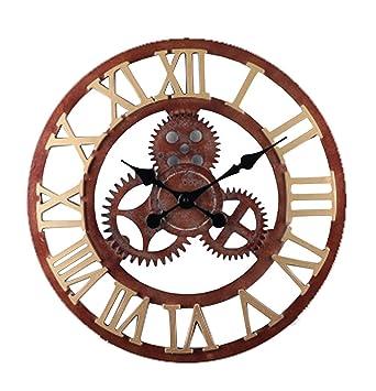 Mindz europeo Retro de moda tapicería pared mecánico decoración silenciosa reloj número romano salón dormitorio Bar