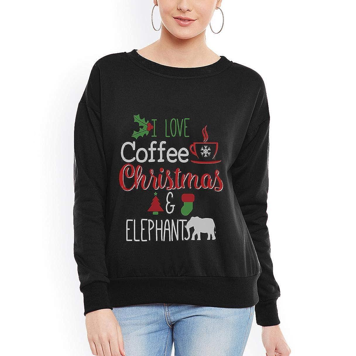 I Love Coffee Christmas and Elephant Holiday Women Sweatshirt tee