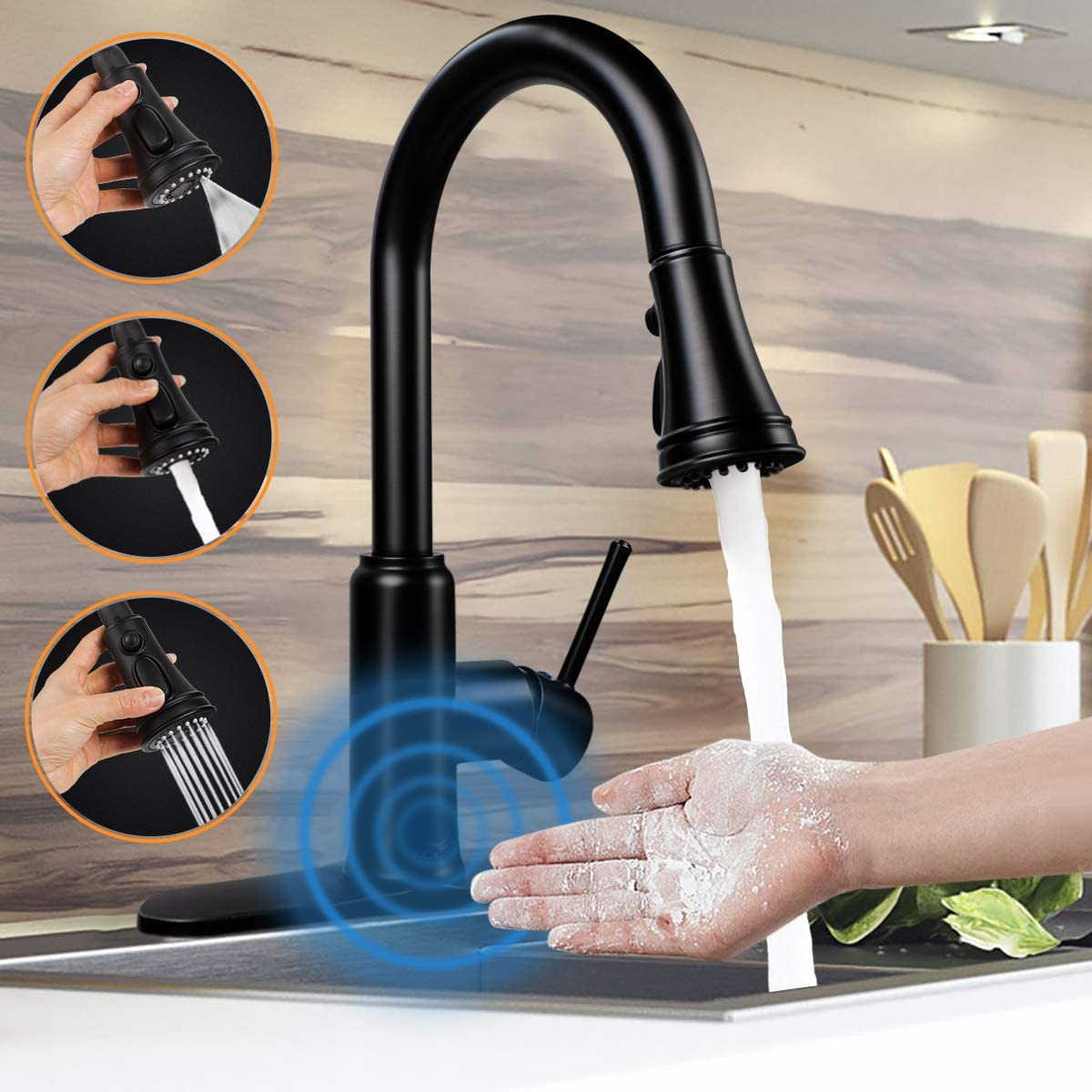 Touchless Motion Sensor kitchen Faucet with Pull Down Sprayer,Soosi Kitchen Faucets Touchless One 3 Hole Matte Black Kitchen Sink Faucets 3-Function Solid Brass Lead Free,5 Years Limited Warranty