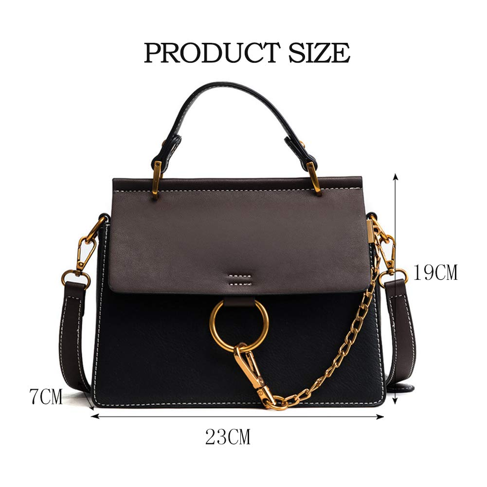 7863d1efeed7 Amazon.com  Yoome Women s Vintage Shoulder Bags Top Handle Handbags Elegant  Ring Bag Color Blocking Purse - Black  Clothing
