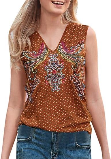 Camisas para Mujeres, Vintage Estampado Floral V-Cuello Blusas ...