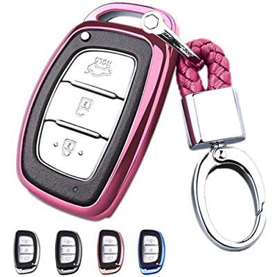 Mofei for Hyundai Key Fob Cover Shell Case TPU Protector Holder with Key Chain Compatible with Hyundai Tucson Elantra Sonata I40 IX35 I45 Smart 4 5 Buttons Remote Keyless Entry (Pink): Automotive