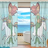 Floral Cartoon Mermaid Riding Unicorn Semi Sheer Curtains Window Voile Drapes Panels Treatment-55x84in for Living Room Bedroom Kids Room, 2 Pieces