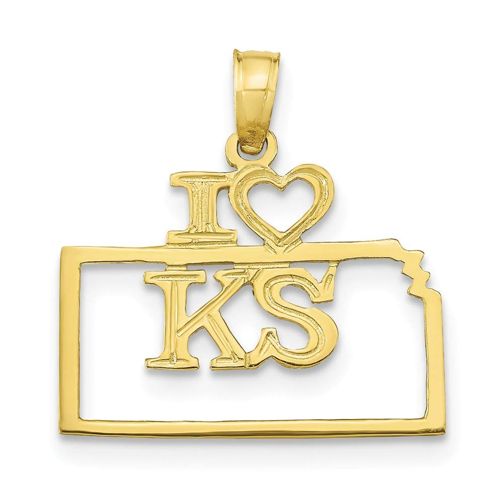 FB Jewels 10K Yellow Gold Solid Alaska State Pendant