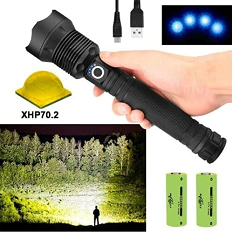 NEW 90000lm xhp90 Ultra Bright LED Flashlight Torch Lamp 2* 26650 Battery USB BY