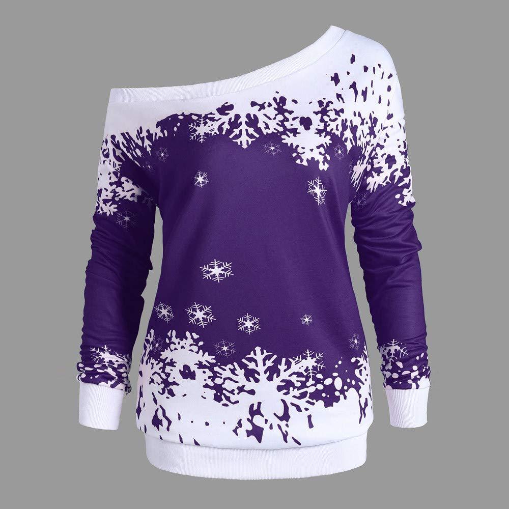 Christmas Women Snowflake Print Long SleeveTops Sweatshirt Pullover Blouse Shirt