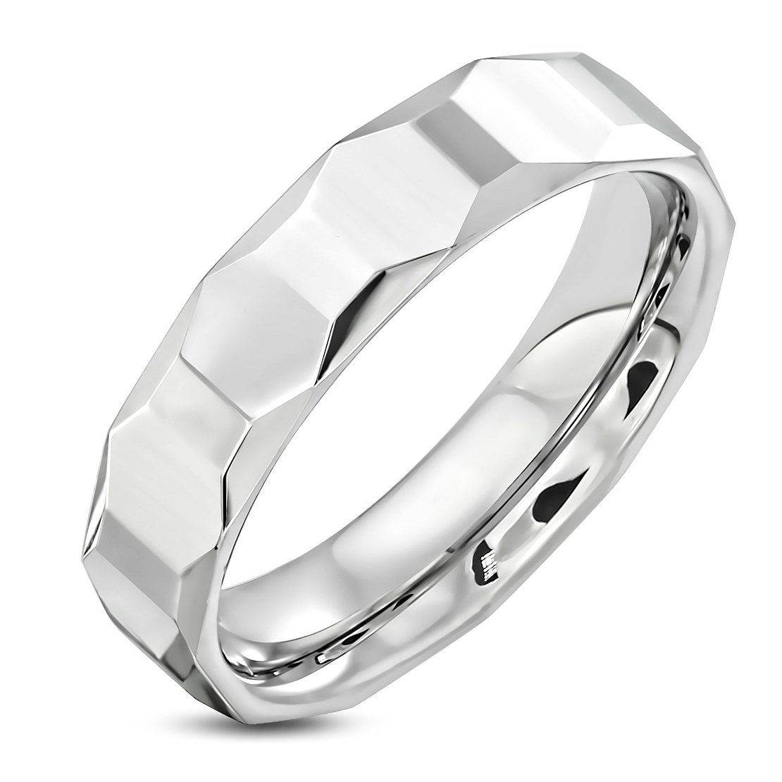 Tungsten Carbide Oval Faceted Comfort Fit Half-Round Band Ring