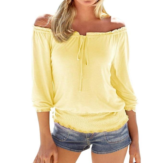 LMMVP❤ Blusa Mujer,Las Mujeres de Verano de Manga Larga colid de Hombros Sueltos Camiseta Sexy Blusa Tops: Amazon.es: Ropa y accesorios