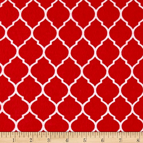 David Textiles Flannel Trellis Ruby Fabric by The Yard,