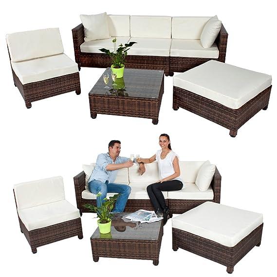 TecTake - Conjunto muebles de Jardín en Poly Ratán Aluminio ...