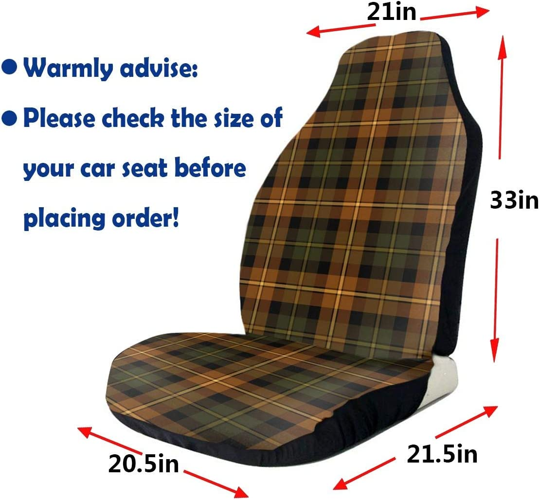 QIUYELONG Forest Green Plaid Fitzsimmons Tartan Print Universal Car Front Seats Seat Cover
