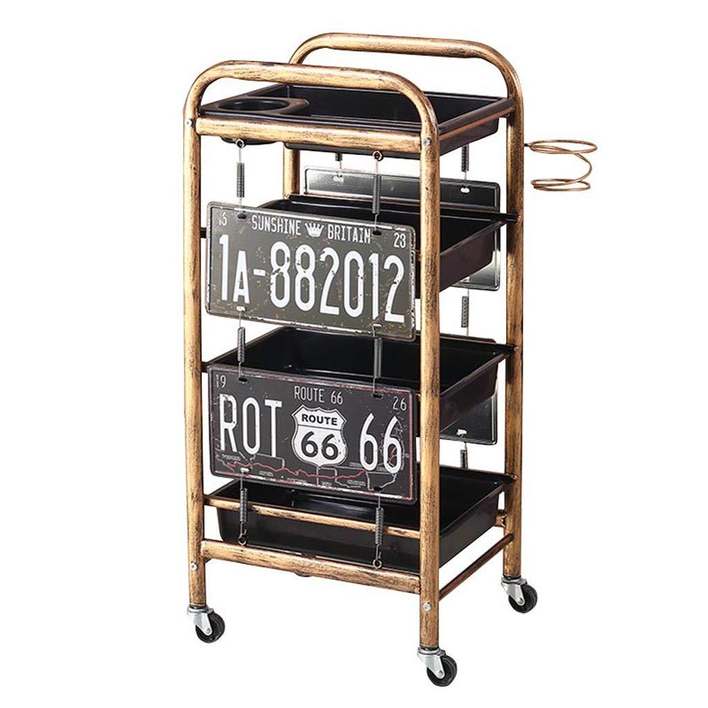 ヘアドライヤーラック付き多目的モバイルトロリー美容院ネイルツール収納車ラック Four floors  B07QNN6KZ3
