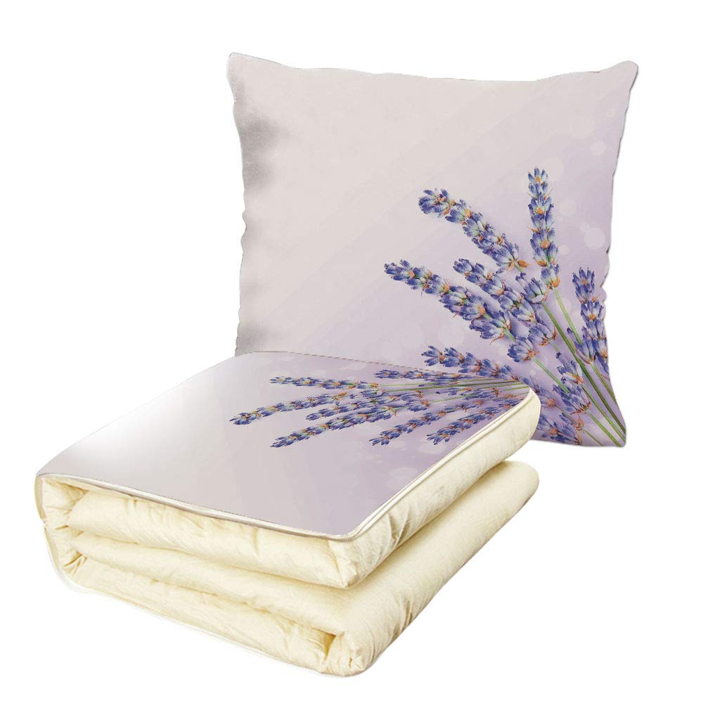 iPrint Quilt Dual-Use Pillow Lavender Little Posy of Medicinal Herb Fresh Plant of Purple Flower Spa Aromatheraphy Organic Multifunctional Air-Conditioning Quilt Lavander