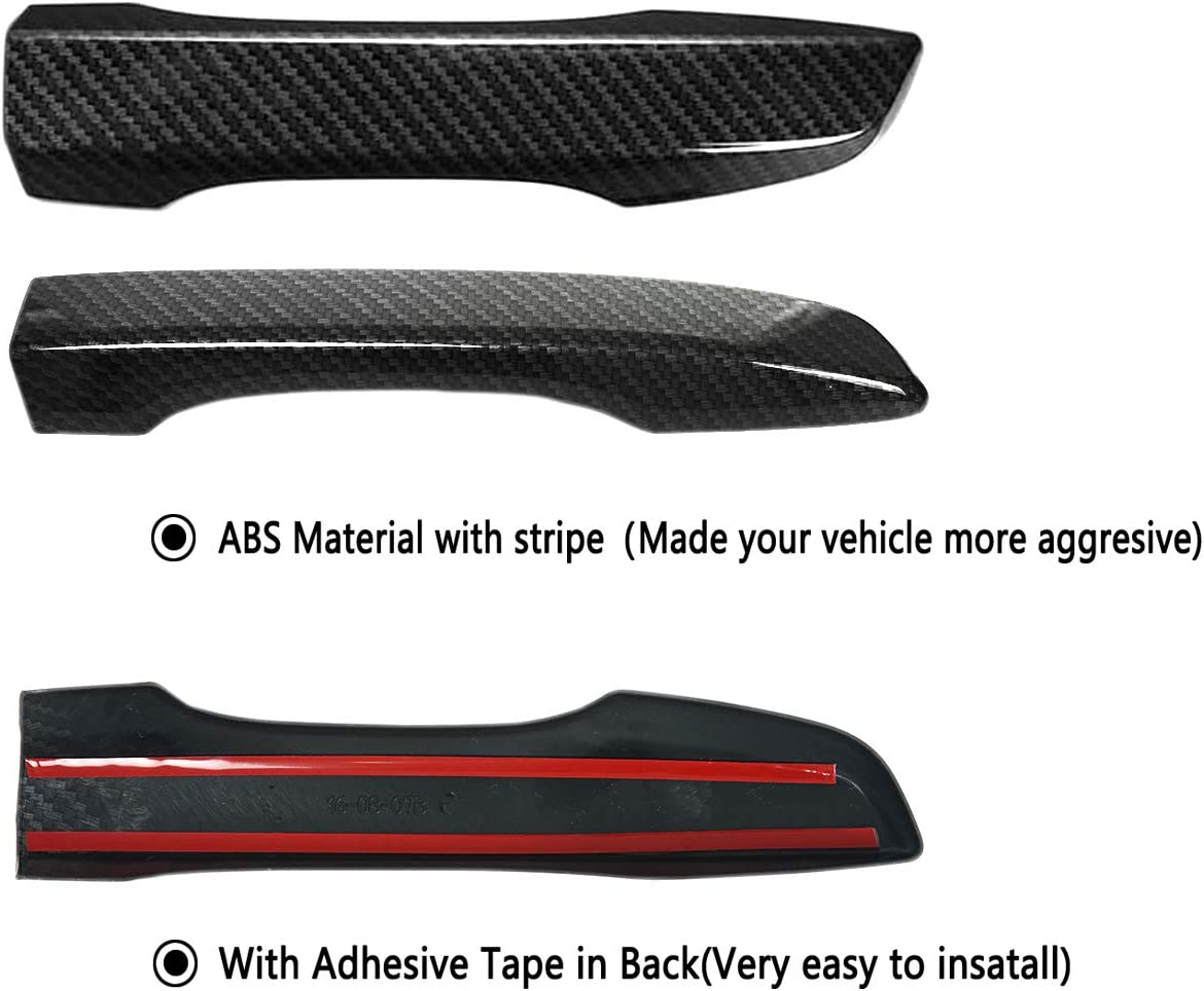 Black Exterior Door Handle Cover Compatible with 10th Gen Honda Civic 2016 2017 2018 2019 2020 Without Keyless Hole Front Driver Passenger Side Rear Left Right w//Stripe