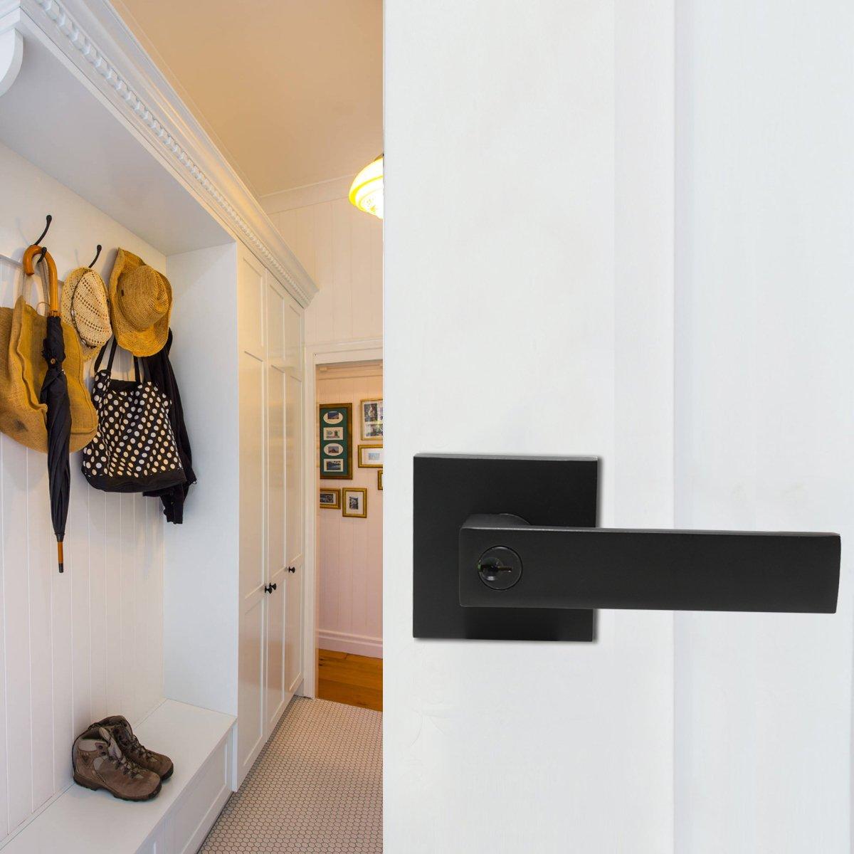 10 Pack Probrico Interior Bedroom Entrance Door Lever Doorknobs Door Lock One Keyway Entry Keyed Alike Same Key Entrance Lockset in Black Each with 3 Keys by Probrico (Image #7)