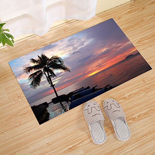 JANNINSE Hawaii Resort Hotel Trail Palm Tree Wave Stripe Sea Water Door Mat, Funny Door Mat Entrance Front Door Mat Home Door Mat Indoor Outdoor Decoration Door Mat Non-Slip Rubber Mat Back Pad (Palms Hotel Resort)