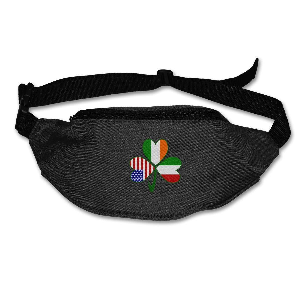 Italian Irish American Shamrock Sport Waist Bag Fanny Pack Adjustable For Hike