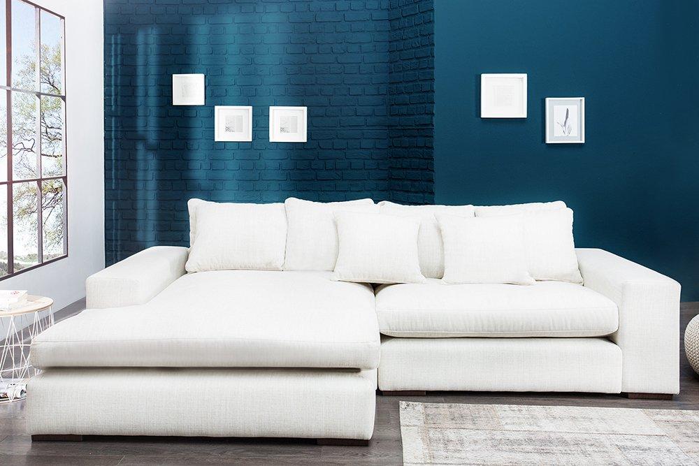 Design Ecksofa MINO weiß Leinen hell inkl. Kissen Landhausstil Sofa ...