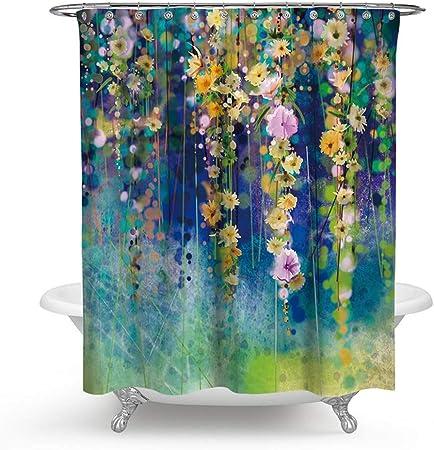GAIBO Cortina Baño para el Baño, Flores Cortina de Ducha PVC Anti Moho Impermeable Impresión Digital 3D Fácil de Limpiar,Green_180x180cm(71x71in): Amazon.es: Hogar