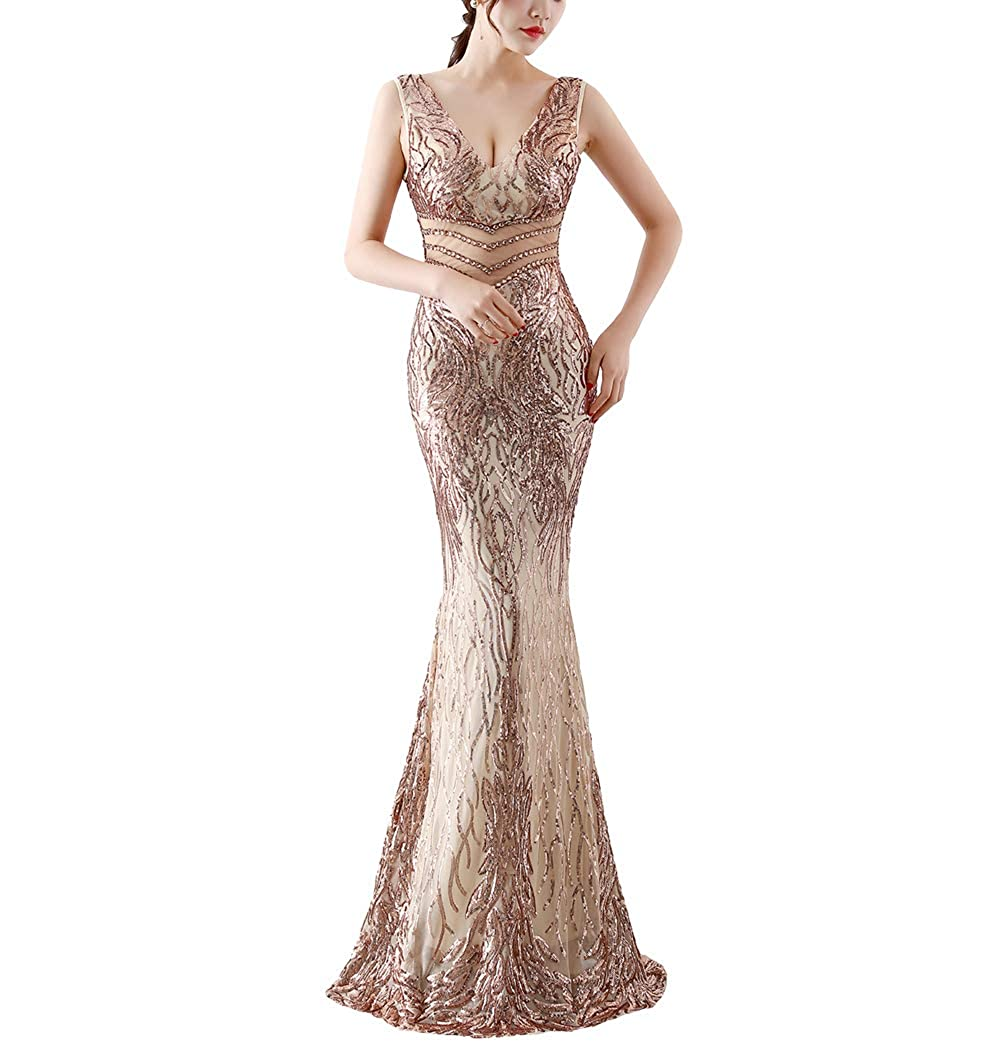 16067gold Chowsir Women Sexy Elegant Slim Sequin Cocktail Party Evening Long Dress