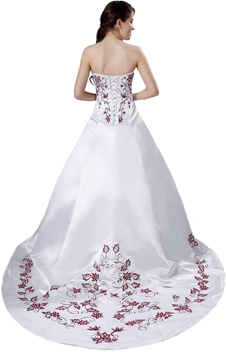 FairOnly Senza Spalline Bianco Rosso Vestito da Sposa Abito da Sposa M56
