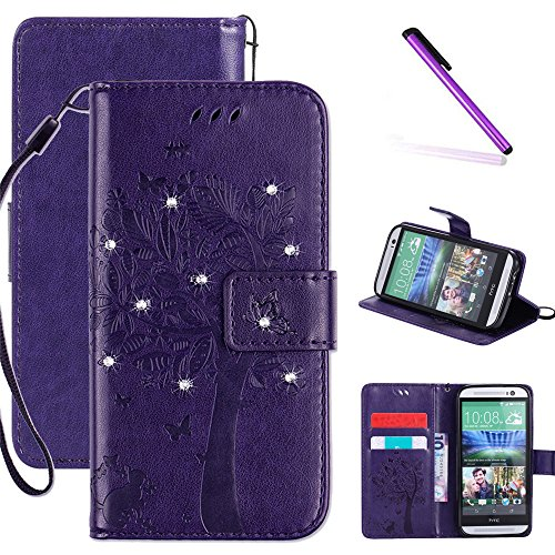 HTC One M8 Case, LEECOCO Embossed Floral 3D Handmade Bling Crystal Diamonds Butterfly with Card Slots Magnetic Flip Stand PU Leather Wallet Case for HTC One M8 Wishing Tree Purple