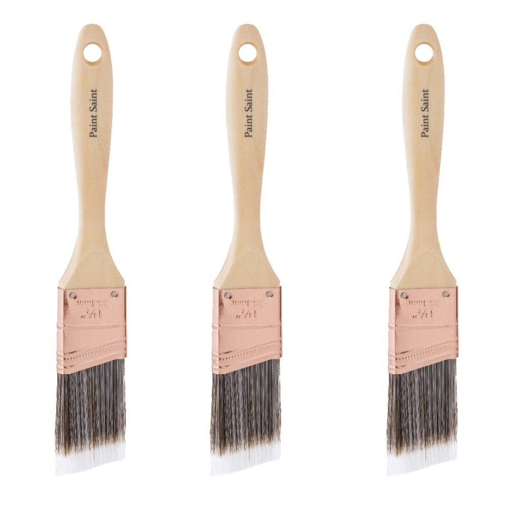 3 Pack of Paint Saint 1.5'' Ultra Professional Angled Sash Brushes for all Water Based Paints