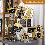 Blulu Birthday Party Decoration Set Golden Birthday Party Centerpiece Sticks Glitter Table Toppers Party Supplies, 24 Pack
