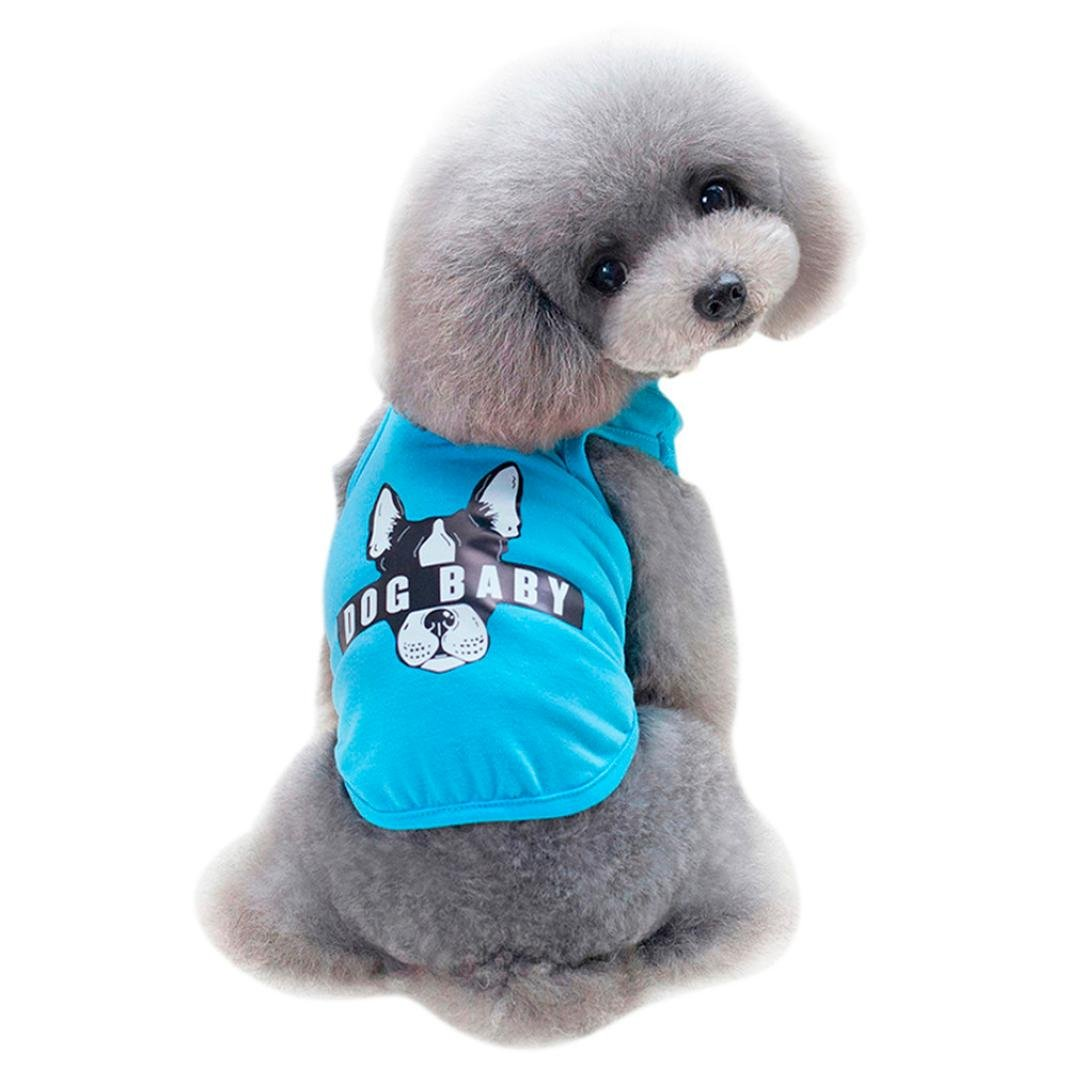 Pet Shirt, OOEOO Dogbaby Costume Small Dog Clothing Puppy Vest Dog Cat Cute Summer Clothes (Sky Blue, S)