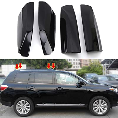 HIGH FLYING Car Accessories Glossy Black Roof Rack Rails End Cap Protection Cover Shell for Toyota Highlander 2008-2013: Automotive