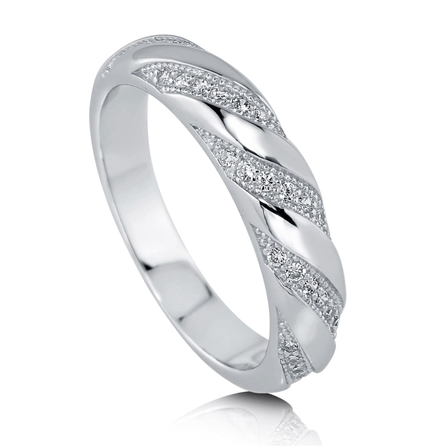 BERRICLE Sterling Silver Cubic Zirconia CZ Wedding Bridal Ring
