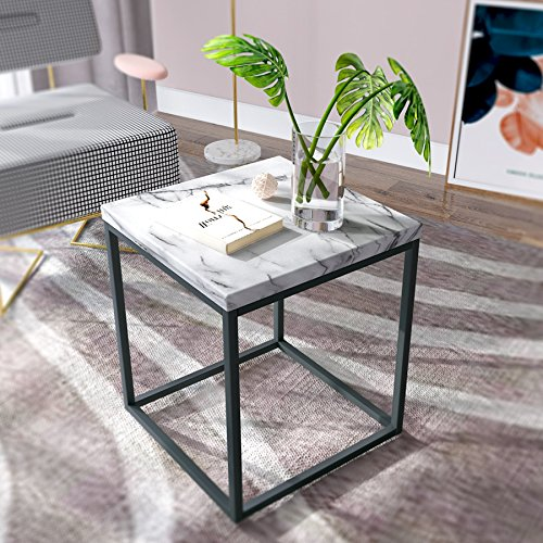 Roomfitters White Marble Print End Table/Side Table/Night Stand, Upgrade Version with Metal Frame Box for Living Room, Bed (Print Stand)