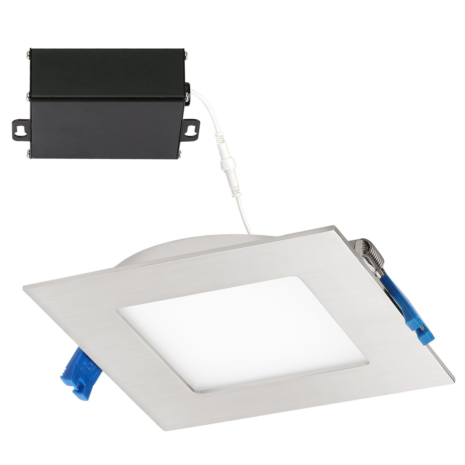 GetInLight Slim Dimmable 6 Inch LED Recessed Lighting, Square Ceiling Panel, Junction Box Included, 4000K(Bright White), 12W, 800lm, Brushed Nickel Finished, cETLus Listed, IN-0308-2-SN-40