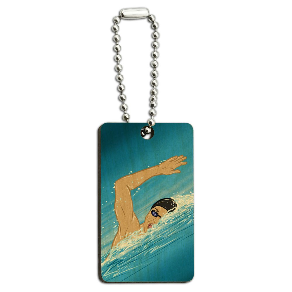 Swimming - Swim Freestyle Pool Sport Wood Wooden Rectangle Key Chain