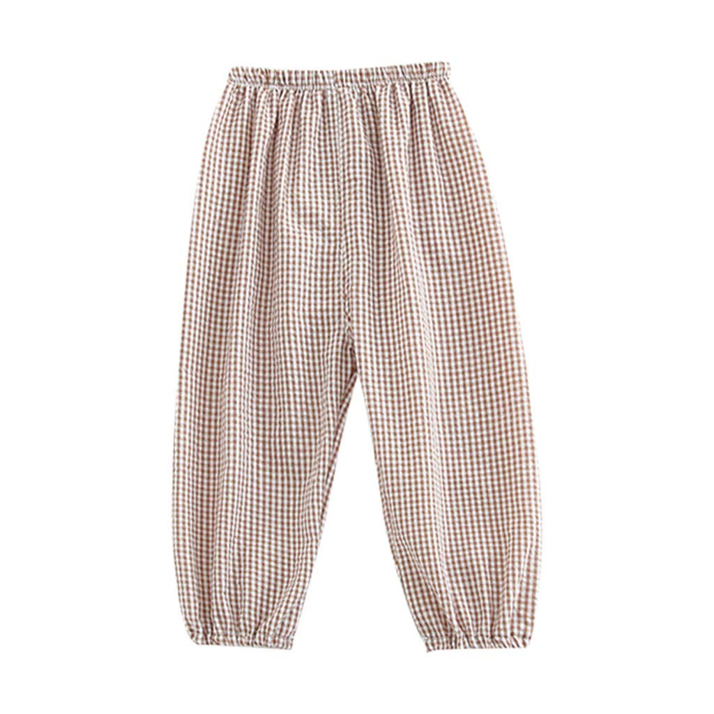 HANANei 6M-24M Baby Pants, Infant Baby Kid Girl Children Plaid Printed Harem Pants Outfits Clothes (0-6 M, Khaki)