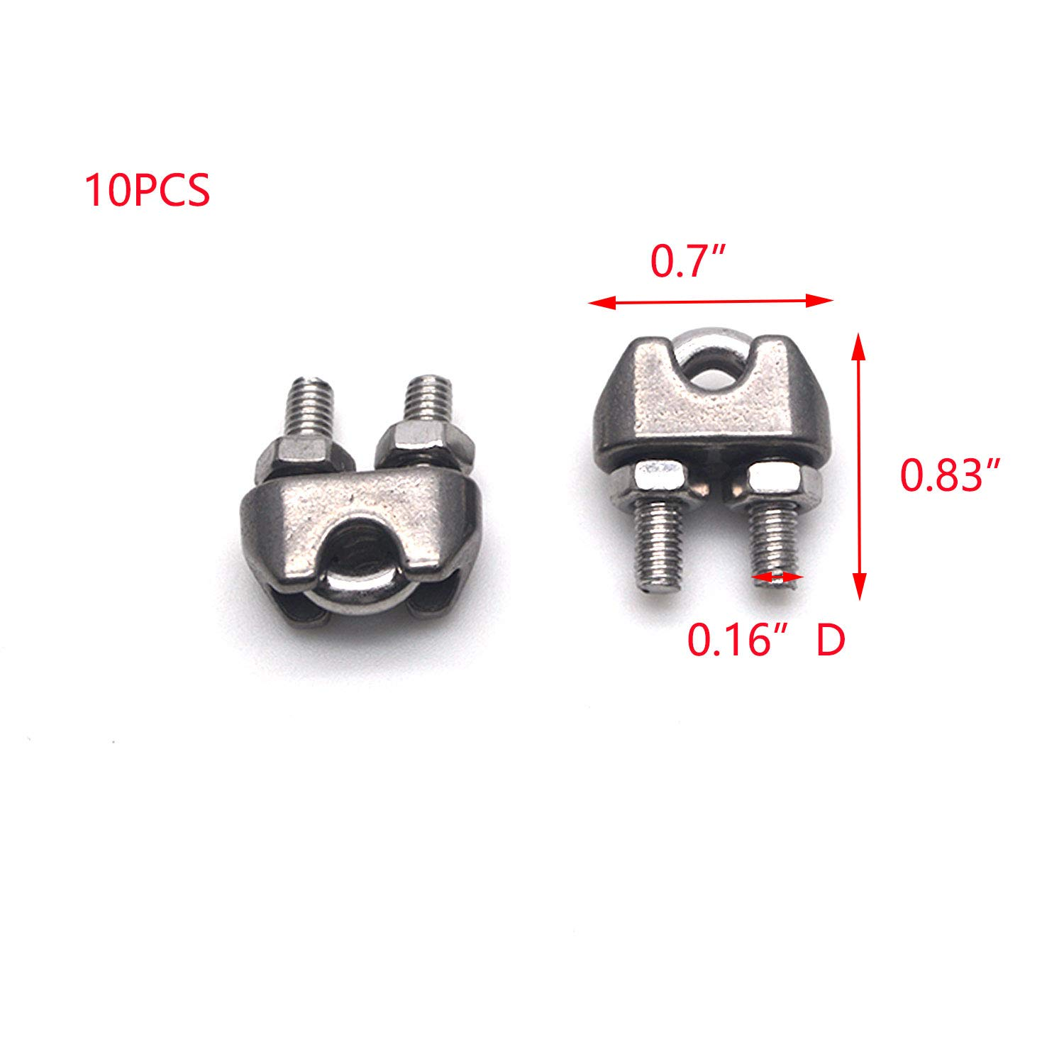 Tulead 10PCS Wire Rope Clamps Stainless Steel Wire Rigging Cable Lock Clips 0.16 Diameter