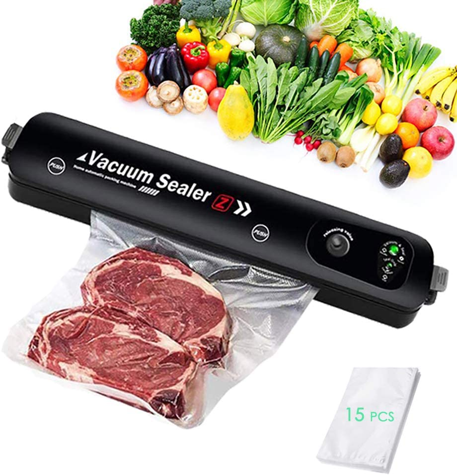 Vacuum Sealer Machine with 15 Food Grade Bags, Automatic Food Sealer with Air Sealing System, Overheat Protection, for Food Preservation Storage Saver