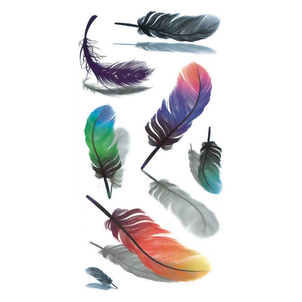 5PCS Feather Temporary Tattoos for Women Realistic Tattoos for Men 3D Waterproof Tattoo Stickers Fashion Non-toxic Body Art Arm Fake Tattoos for Adults (Black)