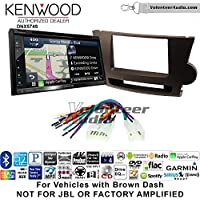 Volunteer Audio Kenwood DNX574S Double Din Radio Install Kit with GPS Navigation Apple CarPlay Android Auto Fits 2008-2013 Non Amplified Toyota Highlander (Brown)