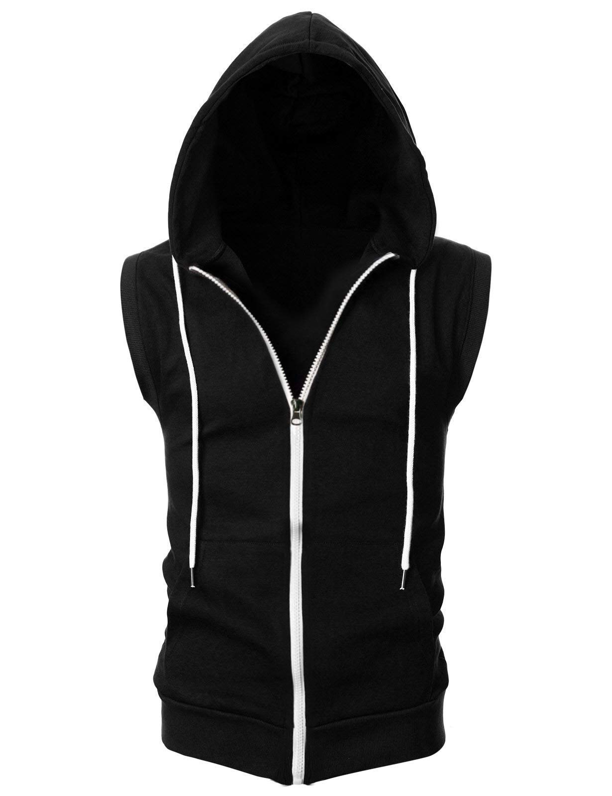 AOOK Gym Hoodie Men Bodybuilding Stringer Tank Top Muscle Sleeveless Shirt (XL, Black LL)