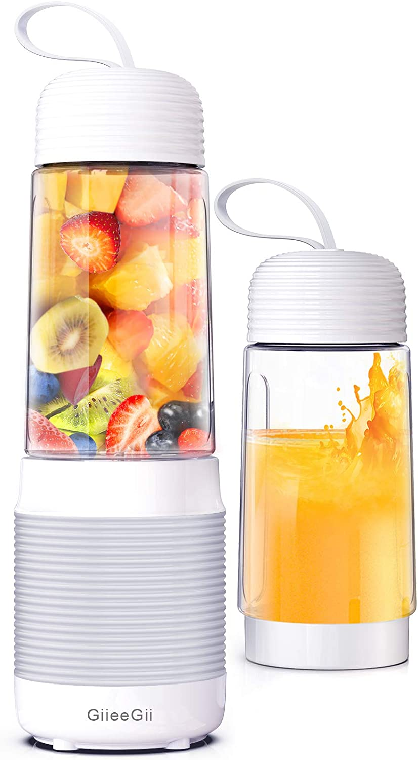 [Newly Version] Portable Blender,GiieeGii Handheld Blender,13.5 Oz Personal Blender for Smoothies and Shakes,Baby Food,Fresh Juice,Facial Mask,4000mAh USB Rechargeable with Six Sharp Blades,75W High Power,Mini Blender for Home,Office,Travel,Sports and Outdoors