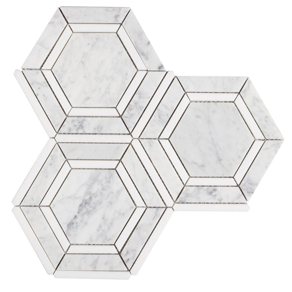 Diflat Hex Appeal Italy Bianco Carrara White Thassos Greek Marble Mosaic Hexagon Tile, 3 Sheets/Box